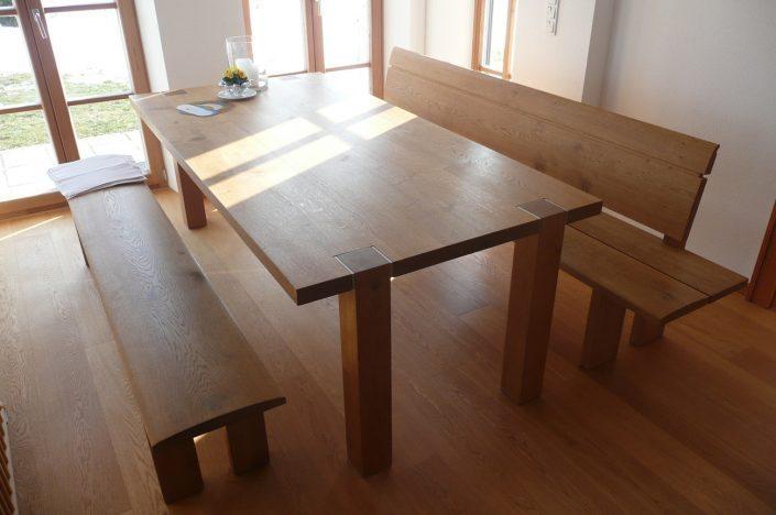 Tisch und Bank Eiche, Edelstahl